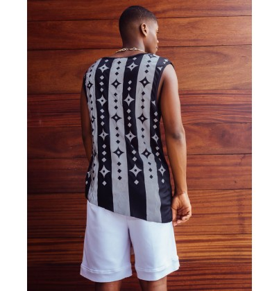 eXOTRik Shuriken Black/White Stripes Reflective Tank Top